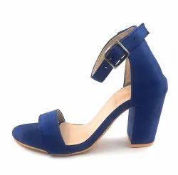 Party Wear Ladies High Heel Blue Sandeel, Size: 7