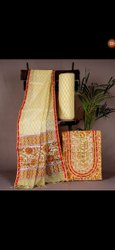 Printed Yellow Cotton Fabric Suit For Ladies
