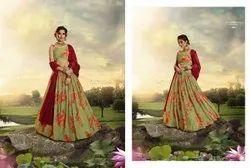 Pickle Green Pure Organza Designer Printed Floral Lehenga Choli With Sequins And Zari Work