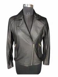 Full Sleeve Black Ladies Leather Biker Jacket