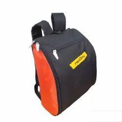 Polyester Black And Orange Backpack Bag