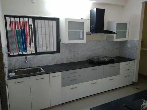 White Straight Modular Kitchen