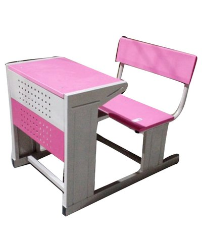 1 Seater Pink Wooden School Desk Bench, Pink Wooden School Desk