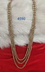 Golden Antique Mehendi Polish Long Necklac Double Line, Necklace Only, Size: Adjustable