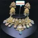 Blue And Pink Kundan Necklace And Earing Jewelry Set For Women And Girl Bijoux