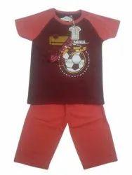 Boy Kids Maroon Printed Dress