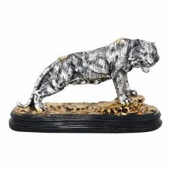 Polyresin Tiger Figurine On Stone With Metallic Color