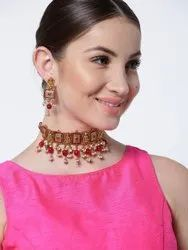 Red Artificial Party Wear Necklace Set