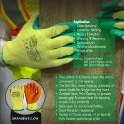 ISO Latex Coated Hand Gloves (Poly Cotton Knitted Crinkled )