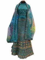 Wedding Wear Semi Stitched Designer Blue Color Net Lehenga Choli with Net Dupatta, 2.50, 25
