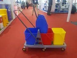 Three Bucket Mop Wringer Trolley, Capacity: 48 L