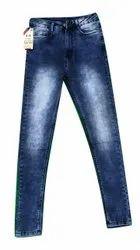Regular Dark Blue Ladies Single Button Denim Jeans, Waist Size: 32
