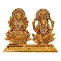 Gold Plated Laxmi Ganesha Saraswati Statue / Car Dashboard Idol