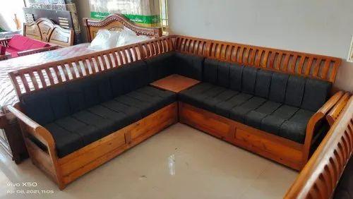 Brown L Teak Wood Corner Sofa Set Rs, Teak Wood Corner Sofa Set Designs Pictures