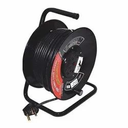 Mild Steel Brilliant Extension Cable Reel 2 socket 6/16 amp with Cable 50mtr, For Industrial Use, Size: 25x31x35 Cm