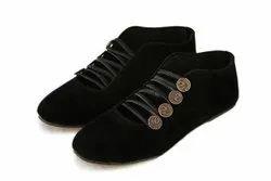 Canvas Plain Women Black Casual Shoes, Size: 6