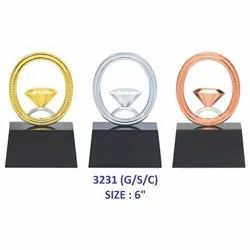 Colourful Crystal Diamond Metal Trophy