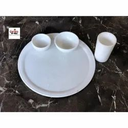White Handmade Marble Food Plate, Bowl & Glass, Started With 5 Inch