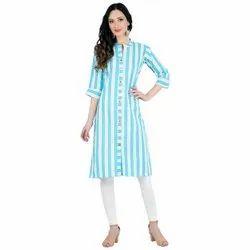 Designer Work Blue& White Kurti