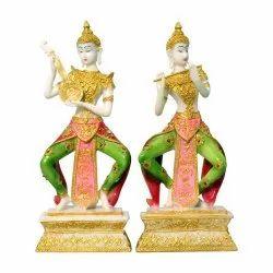 Polyresin Buddha Decorative Statue/Murti Pair Playing Musical Instrument