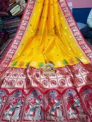 Party Wear Baluchari Bishnupur Silk, 6 m (with blouse piece)