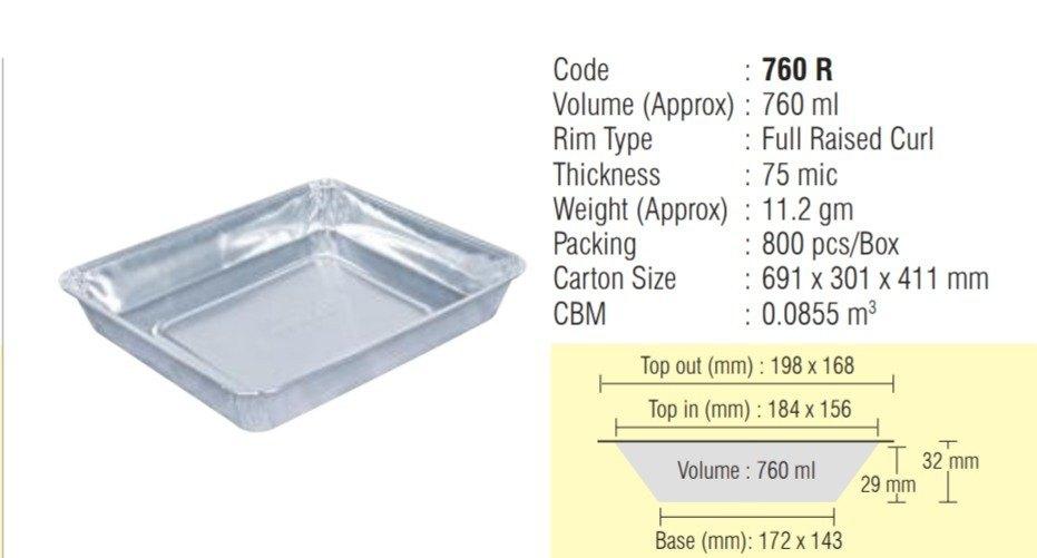 Silver Rectangular Alufo 760 ml Reg Aluminium Foil