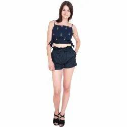 Black Ladies Star Printed Cotton Short