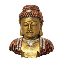 Small Size Polyresin Buddha Head Idol With Jewelry