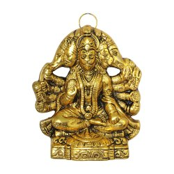 Golden Metal Wall Hanging Antique Look Panchmukhi Lord Hanuman/Ganesha  Idol