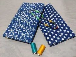Printed Blue Cotton Fabric Suit
