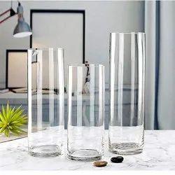 Transparent Cylinder Glass Flower Vase, Shape: Cylindrical