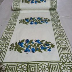White Had block printed Cotton Table runner, Size: 13 By 72 Inches