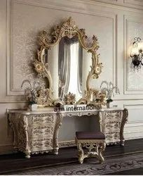 A.m international Wooden Hand Carved Dressing Table, For Home, Size: Standard