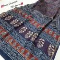 New Latest Collection Bagru Hand Block Printed Pure Chanderi Silk Saree.