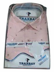 Trendy Platinum Polyester & Cotton Mixed Men Pink Formal Printed Shirt, Machine wash, Size: 38