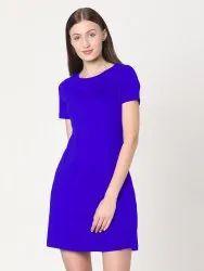 Regular Royal Blue Plain Ladies Short Dress, Half Sleeves, 210