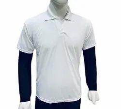 Half Sleeve Cotton Mens Sports White Collar T Shirt, Size: 40