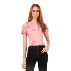 Ladies Pink Tie Dye Cotton Top