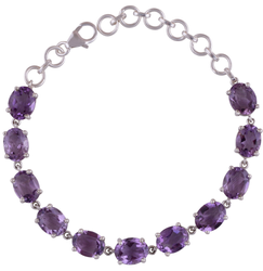 Purple Gemstone Silver Bracelet