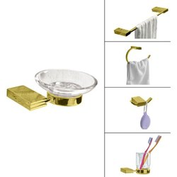 Rectangular Bath Accessories-Gold Finish For Home, Size: Medium