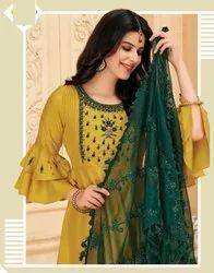 Women Party Wear Silk Gown with Dupatta