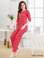 Ladies Heart Print Daily Wear Night Suit