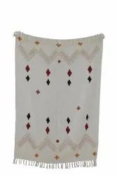 Handloom Sofa Throw Blanket Embroidered Bed Runner With Tassels Cotton Wrap Blanket