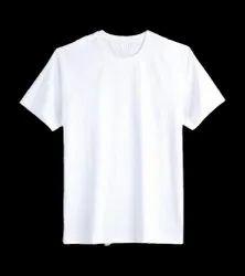 Male Half Sleeve White Cotton T Shirt, Size: Medium