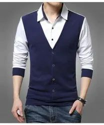 Cotton Full Sleeve Pause Blue and White Hosiery Shirt