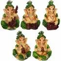 Multicolor Sitting Lord Ganesha Playing Musicale Insruments Statue Sets