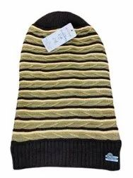 Stripe Woolen Men Black Lining Cap, Size: Free