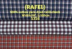 Rafel 100% Cotton Yarn Dyed Twill Check Shirting Fabric
