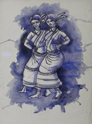 Smooth Acrylic On Paper Tribal Dance Painting, For Wall Frame, Jhulan Mehatari