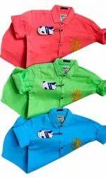 Green & Blue Collar Neck Moochlook Mens Denim Shirt